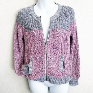 Moth Anthropologie Gray Red Knit Zip Up jacket